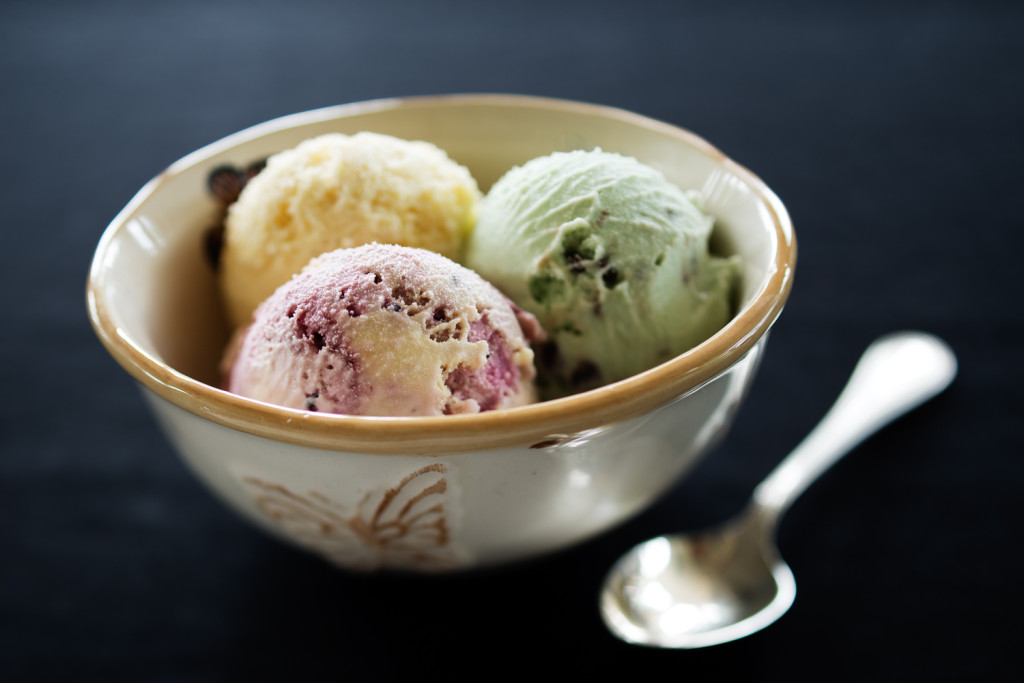 Mint Choc Chip, Vanilla and Blackcurrant ice cream in a bowl