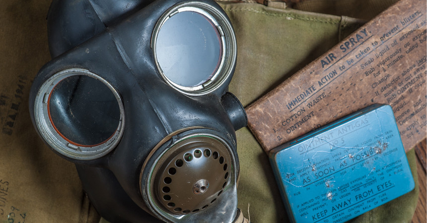 Still life photography Gas mask and mustard gas treatment