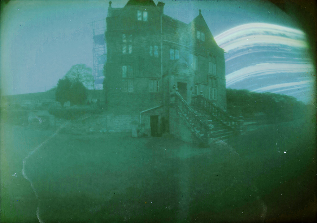 Ghost of scaffolding captured in 6 month pinhole camera exposur