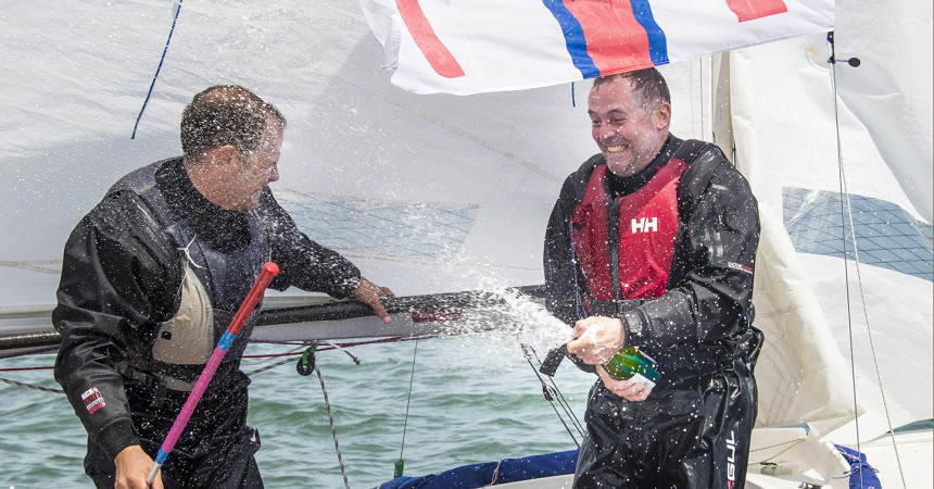 Celebrations at the finish line Hafren Round Britain