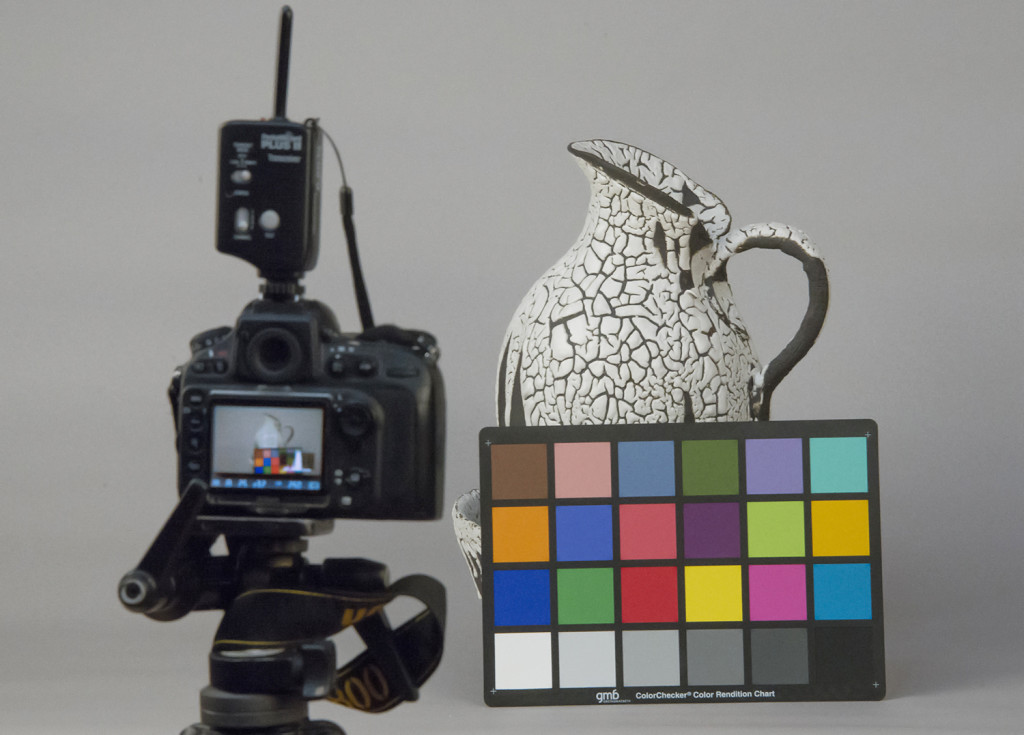 Taking test shot of GretagMacbeth Colorchecker to standardise colour before shoot