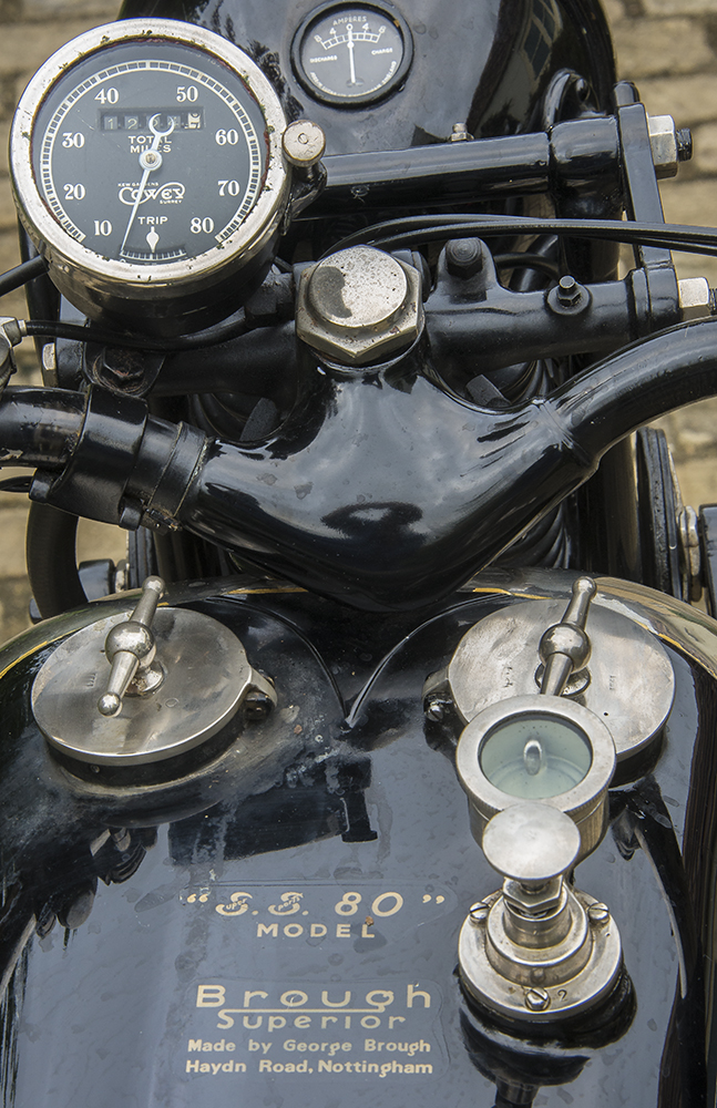 1924 Brough Superior SS80 - riders eye view
