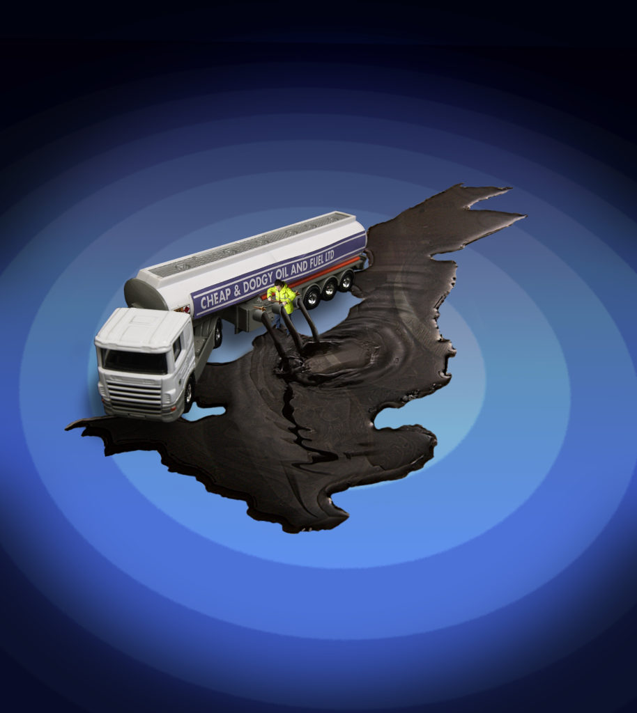 Image commissioned by PCS to illustrate Customs & Excise staff trying to stop flow of smuggled oil into UK