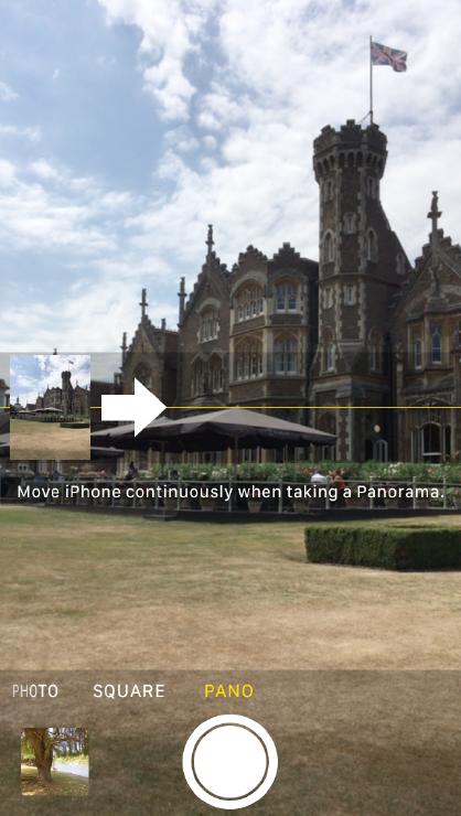 Guidance arrow, Pano option of iOS Camera app