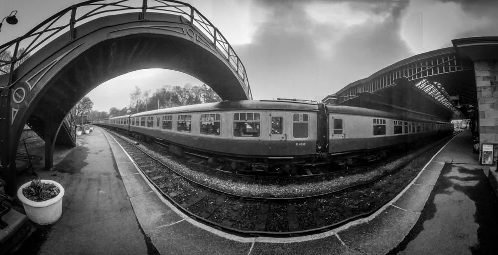 Panoramic image from below a foot bridge. panoramic photography