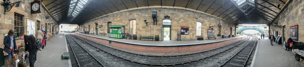 Extreme wide angle image of station platform, Pickering Station. panoramic photography