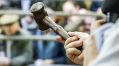 An auctioneers gavel (hammer) at Frome Lifestock Market