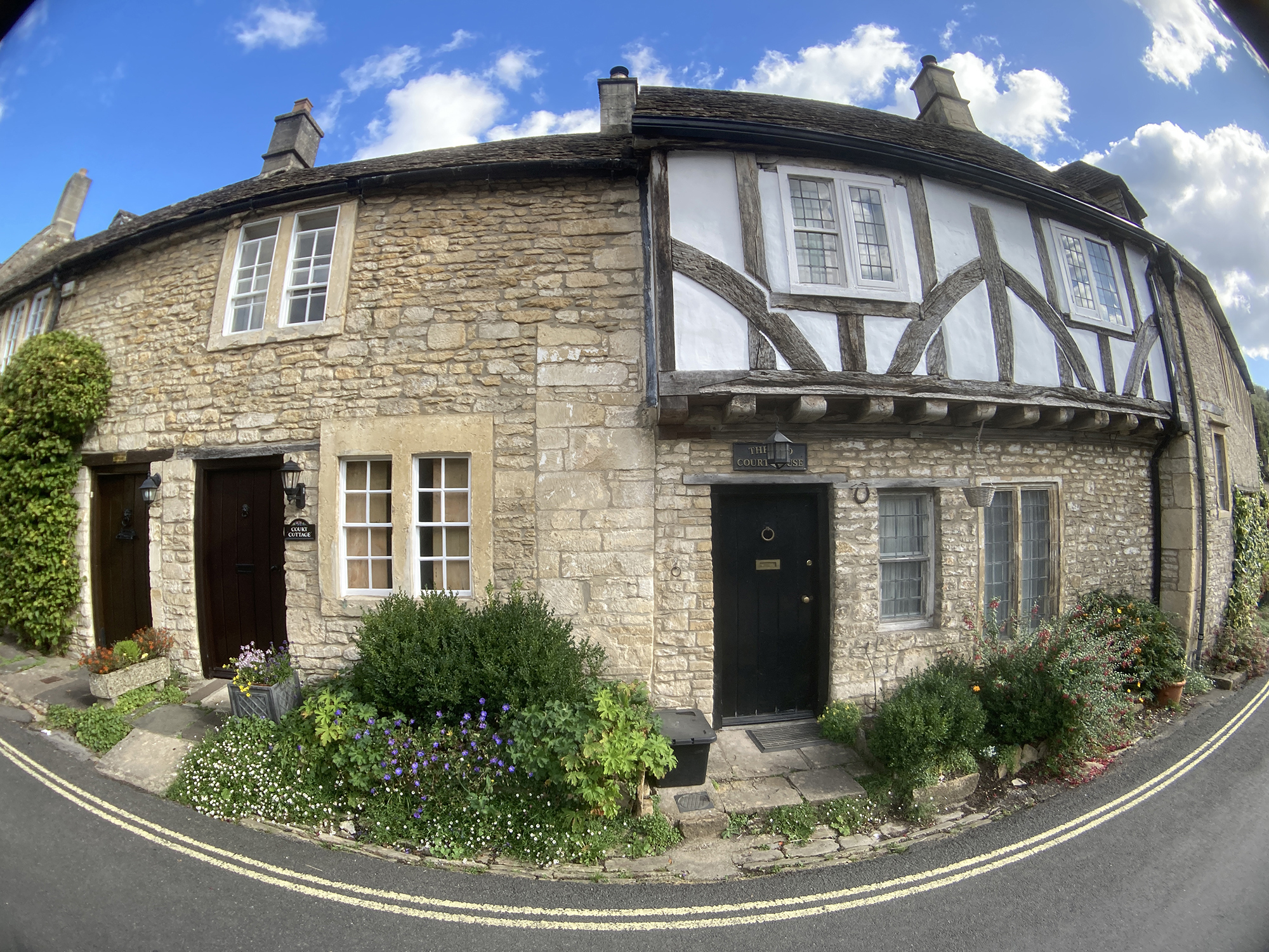 Cottages in Castle Combe, Wiltshire taken with O series Moment 170 Superfish lens